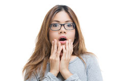Shocked woman. Shocked asian woman isolated on white Royalty Free Stock Photos