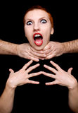 Shocked woman on black background Royalty Free Stock Image