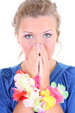 Shocked woman in blue Royalty Free Stock Photo