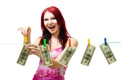 Shocked woman with cash Stock Image