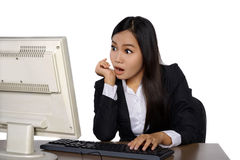 Shocked woman with computer Royalty Free Stock Photo