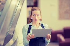 Shocked woman with computer laptop Stock Images