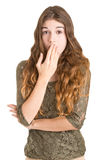 Shocked Woman Covering her Mouth Royalty Free Stock Photos