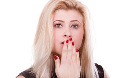 Shocked woman covering mouth with hands Royalty Free Stock Images