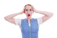 Shocked woman in dirndl - isolated Royalty Free Stock Photo
