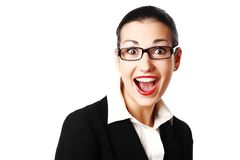 Shocked woman with glasses Stock Images