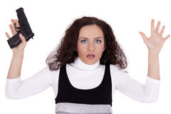 Shocked woman with gun Royalty Free Stock Photos