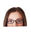Shocked woman holding blank board Royalty Free Stock Photos