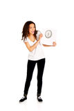 Shocked woman holding a scale. Stock Images