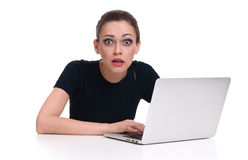 Shocked woman with laptop computer Stock Photo