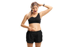 Free Shocked Woman Looking At Her Belly Fat Stock Images - 96867684
