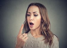 Free Shocked Woman Looking At Her Finger Has Double Vision Stock Photo - 124511290