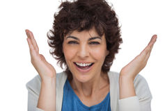 Shocked woman looking at the camera Stock Images