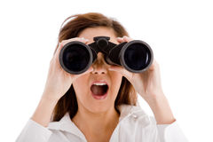 Shocked Woman Looking Through Binocular Royalty Free Stock Photo