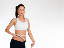 Shocked woman measuring waist Royalty Free Stock Images