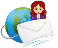 A shocked woman in the middle of the envelope and the globe Stock Images