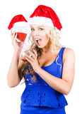Shocked Woman With Minutes Left To Christmas Time Royalty Free Stock Images