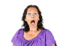 Shocked woman with open mouth Stock Photo