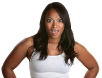 Shocked Woman Over White Royalty Free Stock Photography