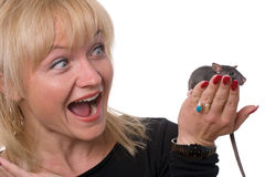 Shocked woman with pet rat Royalty Free Stock Image