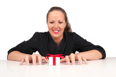 Shocked woman with present box Royalty Free Stock Images