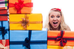 Shocked woman with presents Royalty Free Stock Photography