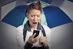 Shocked woman reading breaking news on smartphone holding umbrella. Closeup portrait shocked surprised business woman corporate executive reading bad breaking stock photography