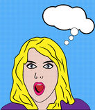 Shocked Woman Retro Pop Art royalty free illustration