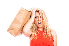 Shocked woman shopping Royalty Free Stock Photo