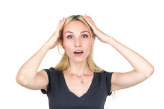 Shocked woman. A woman from surprise keeps the hands behind the head Royalty Free Stock Photo