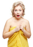 Shocked woman in towel Royalty Free Stock Images