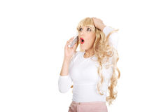 Shocked woman using cellphone. Stock Photography