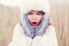 Shocked woman waiting for cold Stock Images
