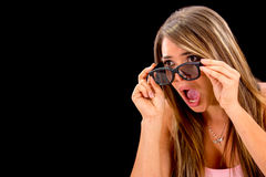 Shocked woman watching 3D movie Stock Photos