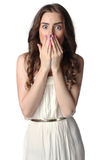 Shocked woman on white background Royalty Free Stock Image