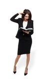 Shocked Woman Writing Check Stock Photography