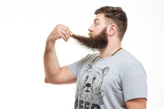 Shocked wondered bearded man holding his beard Royalty Free Stock Photo