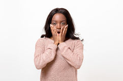 Shocked young African woman Stock Photos
