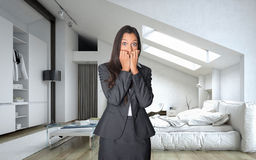 Shocked Young Businesswoman at the Bedroom Royalty Free Stock Photo