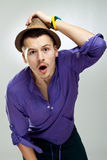 Shocked young fashion man Royalty Free Stock Image
