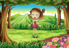 A shocked young girl in the middle of the forest royalty free illustration