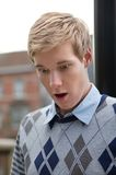 Shocked young man Stock Images