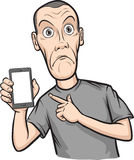 Shocked young man showing a mobile app on a smart phone. Vector Layered Illustration Royalty Free Stock Photography