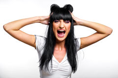 Shocked young woman Royalty Free Stock Image