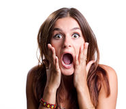Shocked young woman Stock Photos