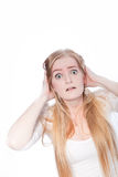 Shocked Young Woman With Hands on Head royalty free stock photography
