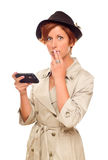 Shocked Young Woman Holding Smart Cell Phone on White Royalty Free Stock Photos