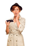 Shocked Young Woman Holding Smart Cell Phone on White Stock Image