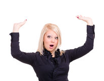 Shocked young woman is holding something abstract Royalty Free Stock Images