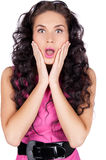 Shocked young woman isolated Stock Images